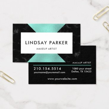 Professional Business Minimalist Mint Black Professional Business Card
