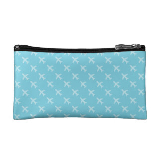Minimalist Modern Airplane Silhouette Pattern Blue Cosmetic Bag