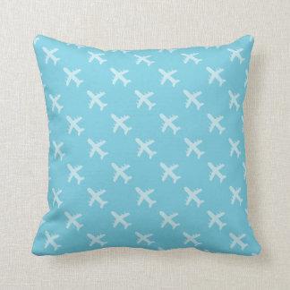 Minimalist Modern Airplane Silhouette Pattern Blue Throw Pillow