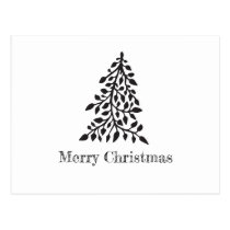 Minimalist Modern Black and White Christmas Postcard