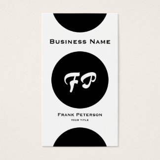 Minimalist modern circle monogram black and white business card