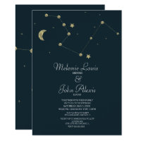 Minimalist Modern Constellation Gold Foil Wedding Invitation