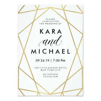 Minimalist Modern Faux Gold on White Card
