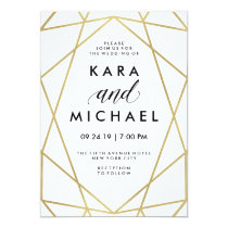 Minimalist Modern Faux Gold on White Invitation