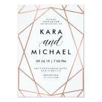 Minimalist Modern Faux Rose Gold on White Card