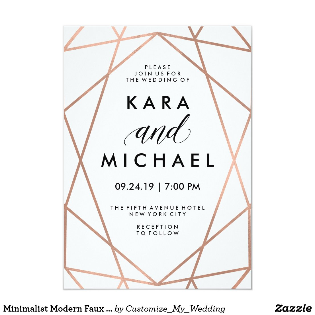 Minimalist Modern Faux Rose Gold on White Invitation