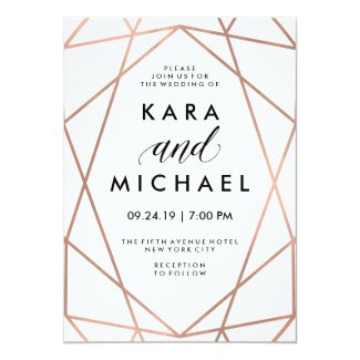 Minimalist Modern Faux Rose Gold on White Invitation