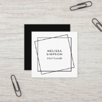 Minimalist Modern Geometric Black And White Square Business Card