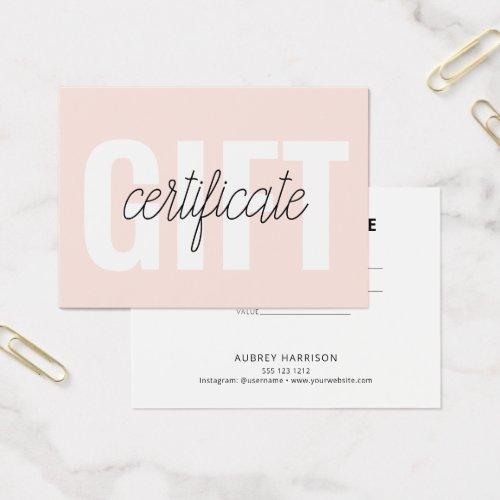 Minimalist Modern Gift Certificate