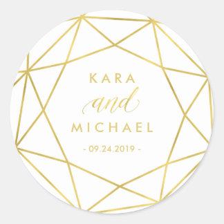 Minimalist Modern Gold Geometric Diamond Wedding Classic Round Sticker
