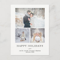 Minimalist Modern Happy Holidays | Three Photos Holiday Postcard