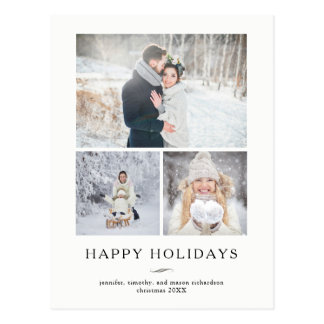 Minimalist Modern Happy Holidays | Three Photos Postcard