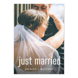 Minimalist Modern Photo Just Married   Reception Card