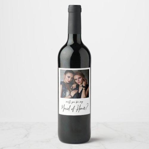 Minimalist Modern Photo Maid of Honor Proposal Wine Label