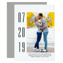 Minimalist Modern Photo Save the Date | White Card