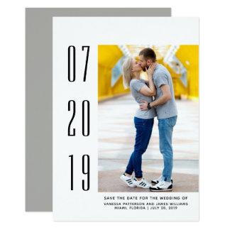 Minimalist Modern Photo Save the Date | White Card