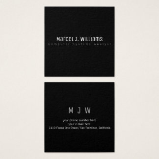 minimalist modern professional simple plain black square business card