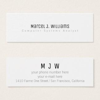 minimalist modern professional simple plain white mini business card