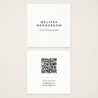 Minimalist Modern QR Code Square Business Card