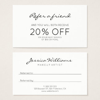 Promotional business cards templates zazzle minimalist modern referral business card reheart Image collections