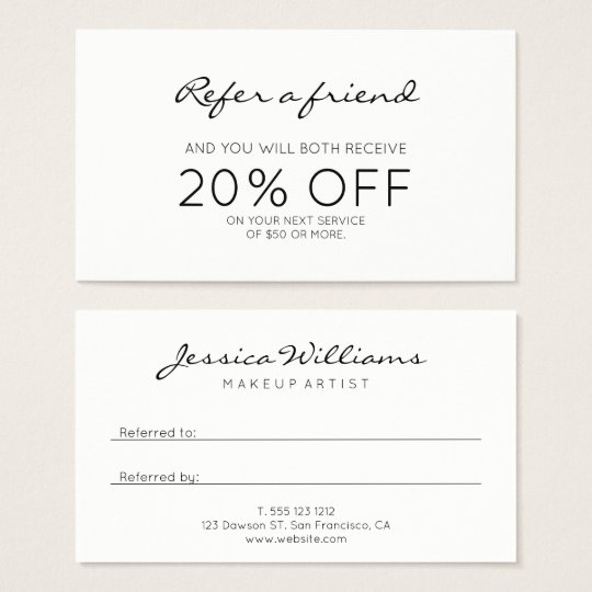 Minimalist modern referral business card zazzle minimalist modern referral business card reheart Gallery