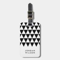 Minimalist Modern White Black Triangle Luggage Tag