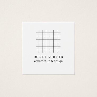 Professional Business Minimalist Modern White Graph Architect Designer Square Business Card