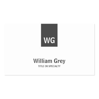 Minimalist Monogram White Grey Modern Profile Card Double-Sided Standard Business Cards (Pack Of 100)