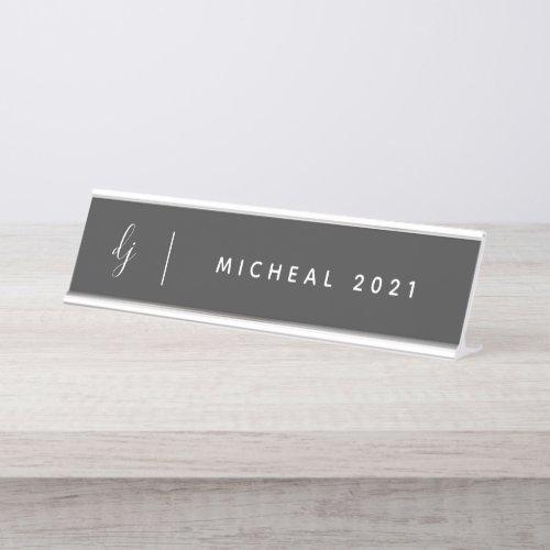 Minimalist Monogram with Name Desk Name Plate