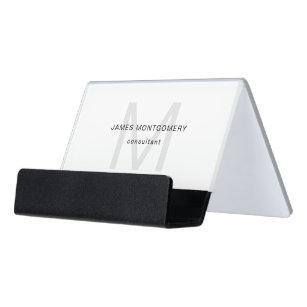 Monogrammed business card holders zazzle minimalist monogrammed gray black white desk business card holder colourmoves