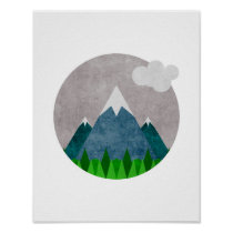 Minimalist Mountains Art Poster