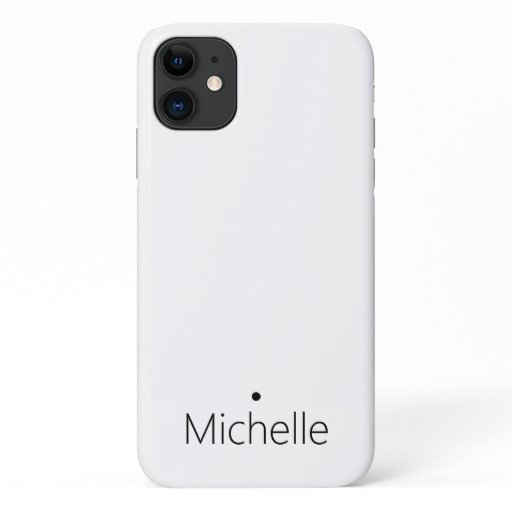 Minimalist name black dot on white classy iPhone 11 case