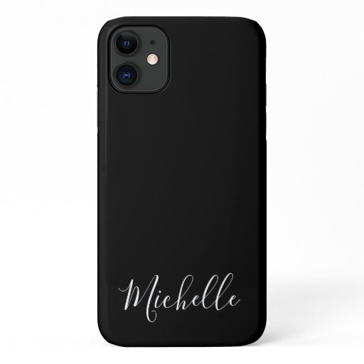 Minimalist name simple clean chic black white iPhone 11 case