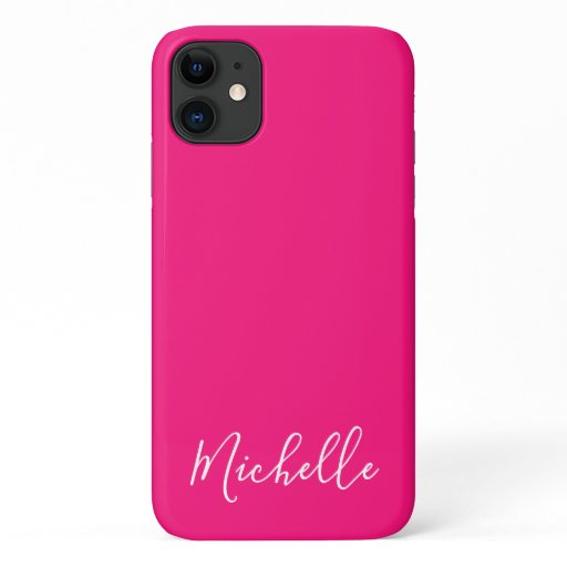 Minimalist name simple clean chic hot pink white iPhone 11 case