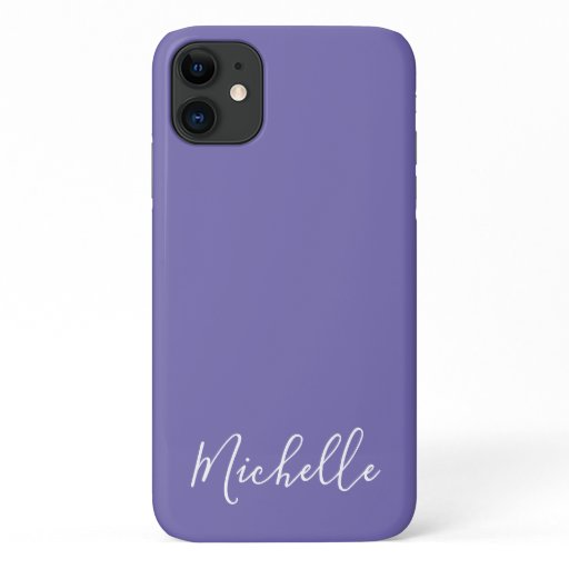 Minimalist name simple clean chic purple white iPhone 11 case
