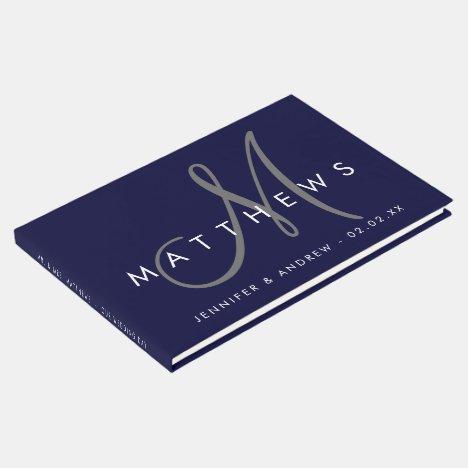 Minimalist Navy Blue Modern Gray Monogram Wedding Guest Book