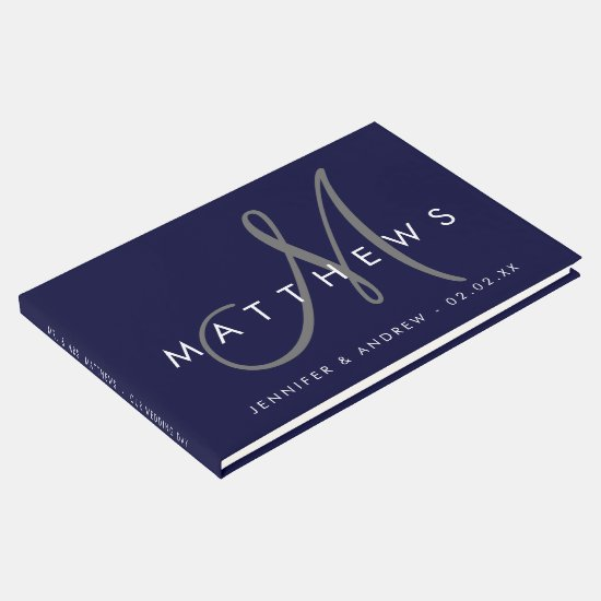 Minimalist Navy Blue Modern Gray Monogram Wedding Guest Book