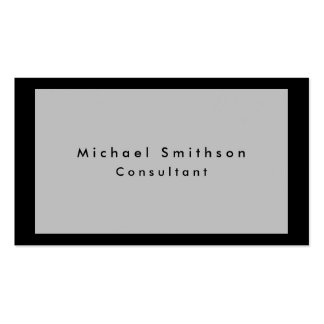 Minimalist negro gris moderno elegante llano tarjetas de visita