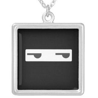 minimalist ninja square pendant necklace