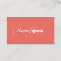 Minimalist Orange Dog Walker Simple Business Card