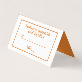 Minimalist Orange Wedding Party - Fall Halloween Place Card