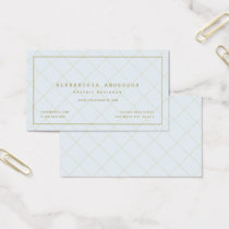 Minimalist Pale Blue Gold Windowpane Business Card