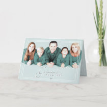 Minimalist Pastel Blue Grateful Christmas Photo Holiday Card