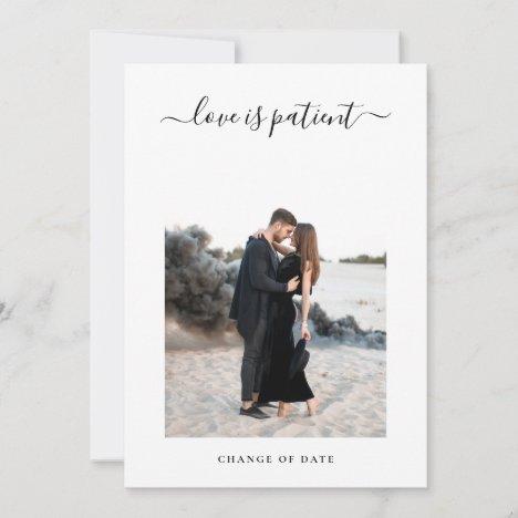 Minimalist Photo Postpone Wedding Date Change Announcement