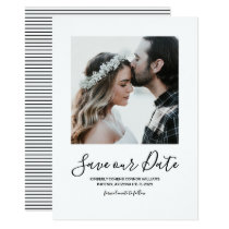 Minimalist Photo Save the Date | White Card