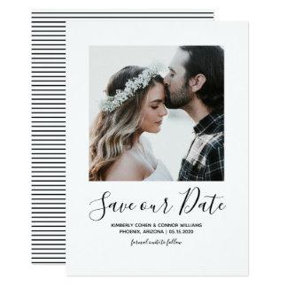 Minimalist Photo Save the Date   White Card