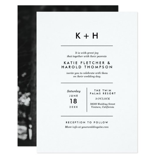 Photo wedding invitations announcements zazzle minimalist photo wedding card stopboris Images