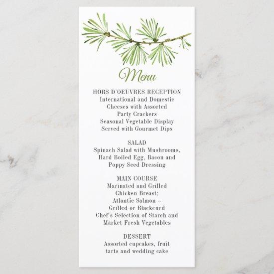Minimalist Pine Branch Greenery Menu