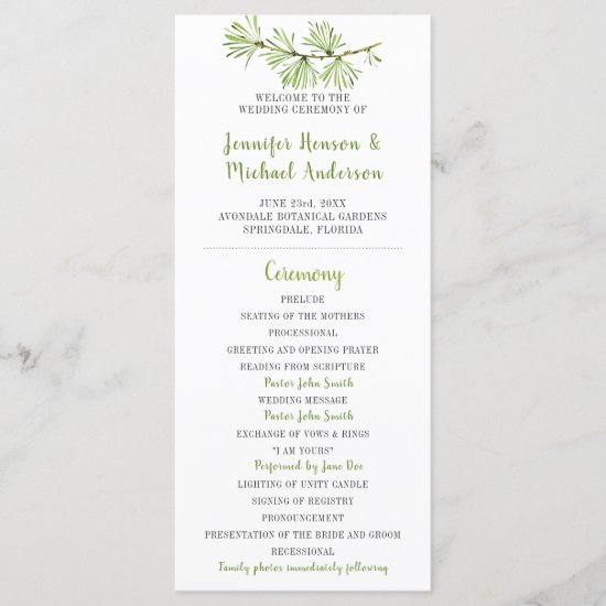 Minimalist Pine Branch Wedding Program