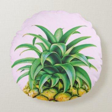 Beach Themed Minimalist Pineapple Round Pillow